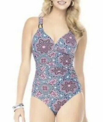 7d8da05427 Love Your Assets by Sara Blakely Spanx Blue Pink Patterned Onepiece Swimsuit  M