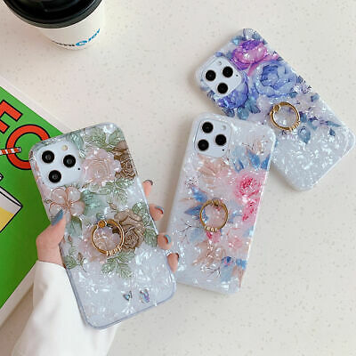 For iPhone XS Max XR 6s 7 8 Plus X Shell Flower Ring Holder Stand TPU Case Cover