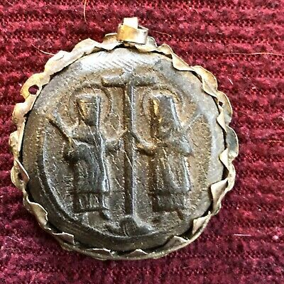 A Rare Byzantine Pressed Horn Crucifix Medallion Pendant Later Silver Frame