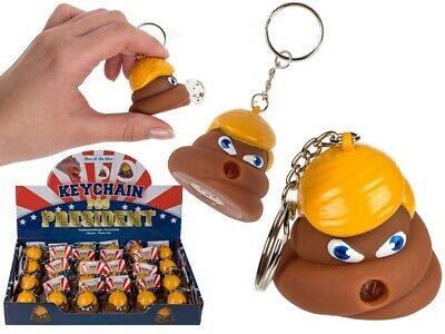 SQUEEZE PRESIDENT POOP KEYRING POO POP FART KEY CHAIN DONALD TRUMP New Model