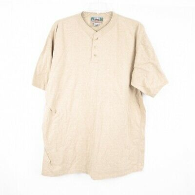 EMS Eastern Mountain Sports VTG 90's Tan Cotton Mens Henley Shirt - L USA