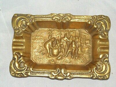 Antique Heavy Solid Cast Brass Ashtray With Figures