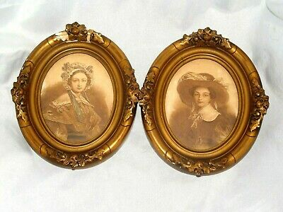 Two Antique Victorian Ornate Gilt Jesso Wood Picture Frames W Ladys Pictures