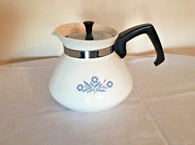 BEAUTIFUL!! Vintage Corning Blue Cornflower 6 Cup Stove Top Tea Pot/Coffee Pot