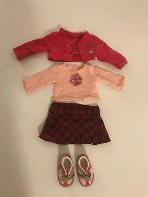 American Girl Doll Petals And Plaid Outfit Retired Shirt Skirt Jacket Shoes Pink