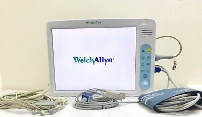 "WELCH ALLYN 1500 SIGNS 15"" PATIENT MONITOR Co2 + LEADS 12-LEADS ECG SpO2 NIBP"
