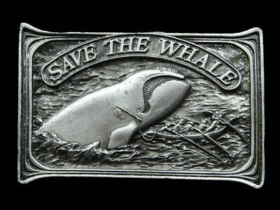 Rj09128 Vintage 1976 **Save The Whale** Pewter Bergamot Belt Buckle