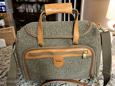 Vintage Hartmann Luggage Tweed and Leather Overnight Cosmetic Travel Bag Ex Con