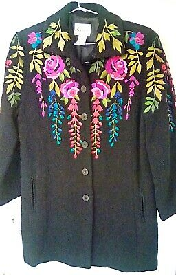 LINEA by Louis DellOlio Gorgeous VNTG All-Around Embroidered Gypsy Boho Car Coat