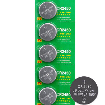 5x 3V CR2450 Cell Coin Button Battery Watch Key Remote Electric Clock Calculator