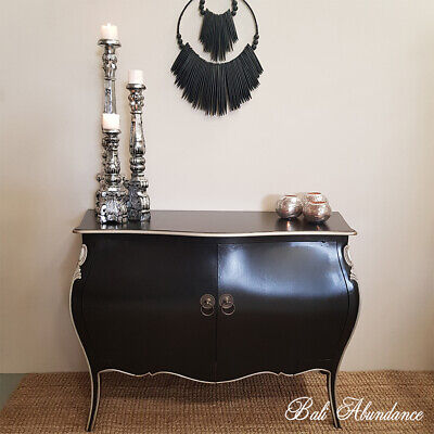 Vintage Black & Silver Bombay Chest with Brass Handles