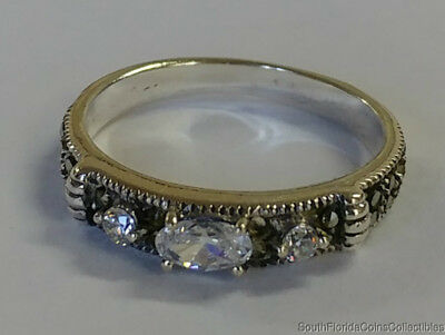 Estate Jewelry Beautiful Marcasite Cz Ring .925 Sterling Silver Band Size 6