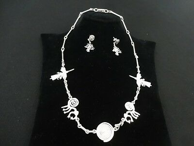 Peruvian Sterling Silver Necklace & Earings - Nasca Line Geoglyphs Design