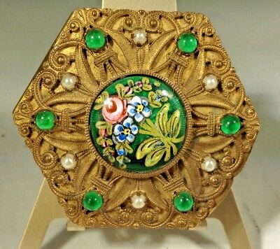 Antique French Empire  Jeweled Painted Enamel Omolu Mirrored Ladies Trinket Box
