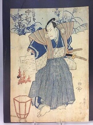 Antique Japanese  Woodblock Print  Utagwa Kunisada Kabuki Actor Samurai