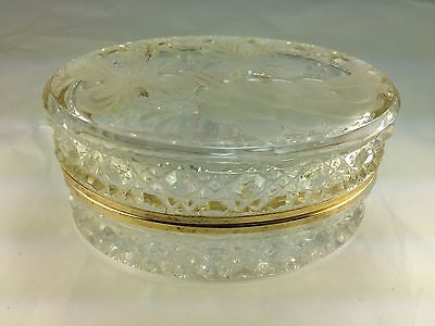 Antique Elegant Oval Etched Flowers Design  Cut Glass Jewelry Box