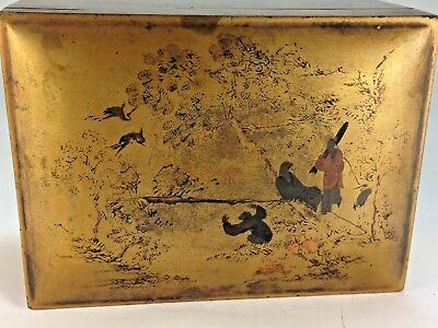 Antique Paper Mache Chinese Gold Scenic Picture Treasure Box