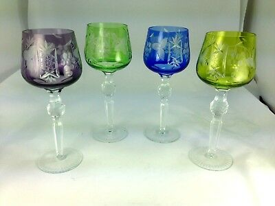 Set Of 4 Vintage Cut To Clear Bohemian Colored Crystal Glasses Goblets  8 1/2""