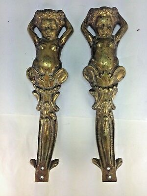Antique French Solid Brass Pair (2) Nudes Cherub/Putti Door Pulls Handles