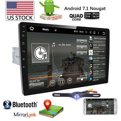 "10.1"" Adjustable Touchscreen Android 7.1 Car Radio Stereo 1Din 4-Core GPS Wifi"