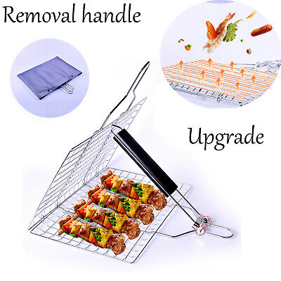 Foldable Grill Basket Fish Steak Vegetable Camping Portable BBQ Barbecue Tool