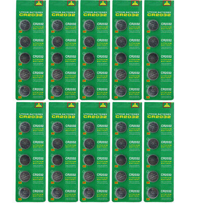 50Pack CR2032 3V Coin Batteries ECR 2032 Button Cell Battery Scale Remote Watch