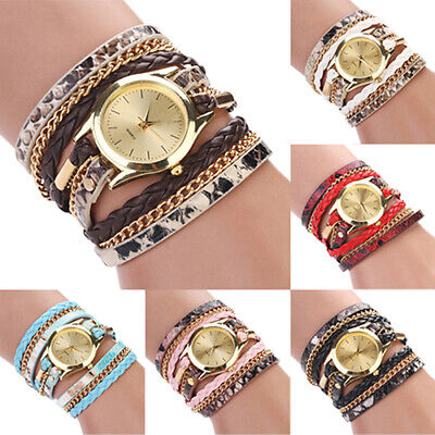 Women Leopard Print Braided Faux Leather Analog Quartz Bracelet Wrist Watch Sigh