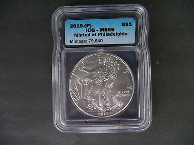 2015 (P) silver American eagle ICG MS 69 Minted in Philadelphia