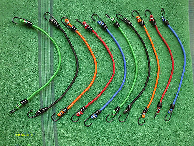 10 pc Strong Long Lasting Bungee Cord Pack Assorted Colors Stainless Steel Hooks