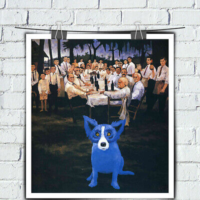 Blue Dog cartoon HD print canvas art painting home decor wall art picture 24X26