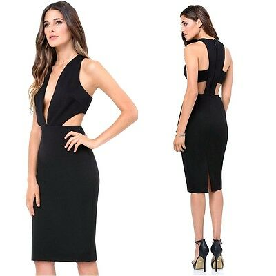 $140 NWT bebe black deep v neck side cutout plunge midi top dress XS 0 2 sexy