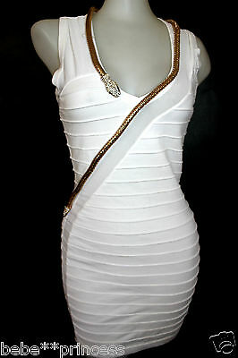 NWT bebe white mesh gold embellished snake crystal bodycon top dress XS 0 2 hot