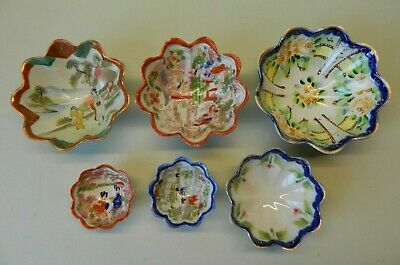 6 Fluted Japanese Graduated Footed Bowls