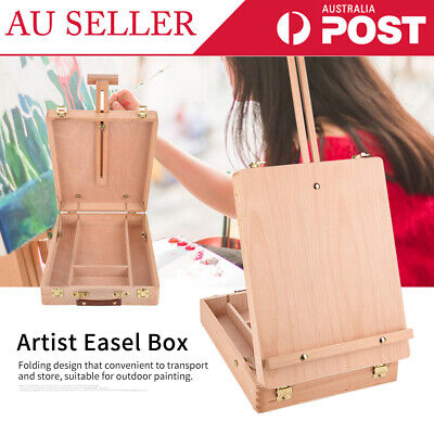 Adjustable Portable Wooden Table Top Easel Sketching Artist Drawing Painting Box