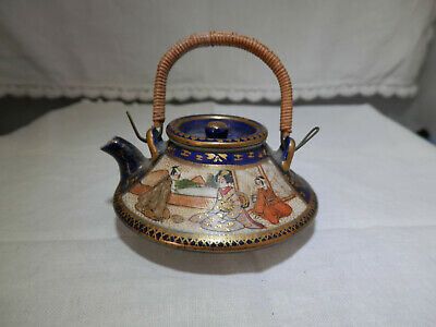 Antique SATSUMA miniature blue-ground teapot, Kinkozan ? mk