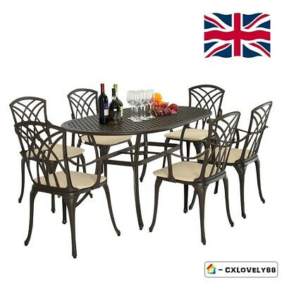 Metal Cast Aluminium Garden Patio Furniture 7 Pcs Set for Pub Cafe Picnic Party