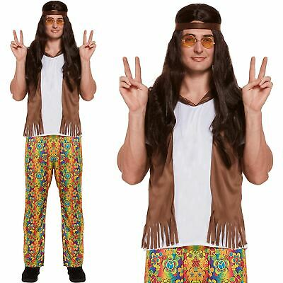 Mens Groovy Hippy Outfit 60s 70s Fancy Dress Hippie Adult Costume Woodstock