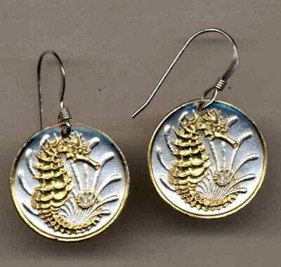 """Singapore 10 Cent """"Sea Horse"""" Handmade 24 k Gold Plated Coin Earrings"""