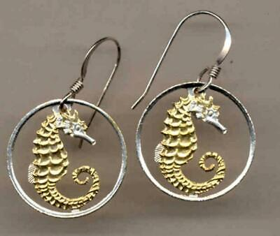 Singapore 10 Cent Handmade Silver and 24 k Gold Plated Sea Horse Coin Earrings