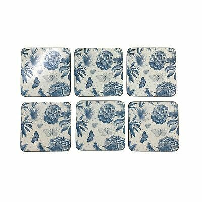 """Set Of 6 Butterfly Floral Blue Cork Backed Placemats 30.5X23X0.6Cm-12X9X0.25"""""""