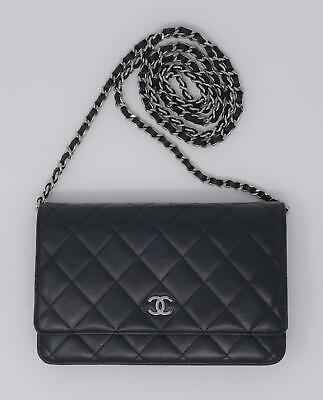 b30aa74736d560 CHANEL Black Leather Wallet on Chain WOC Classic Quilted Silver Hardware Bag