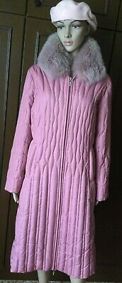 Stunning down coat with fur collar Women, pink color, size M  PIUMINO Donna
