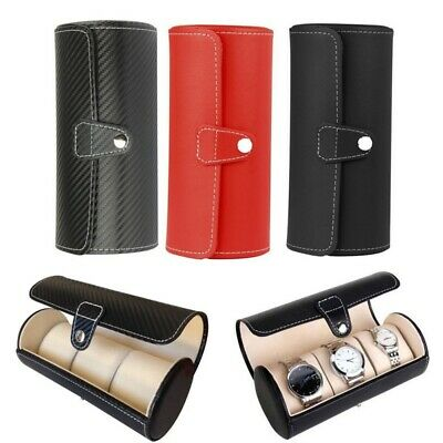 3 Slots Watch Box Faux Leather Jewelry Storage Case Organizer Travel Holder Hot