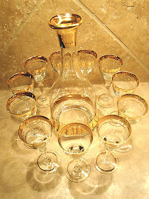 Decanter with Cordial Stem Glasses 11 Gold Trim Clear Glass Vintage MINT #23