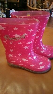 Girls Pineapple wellie boots cerise pink with stars infant size 10