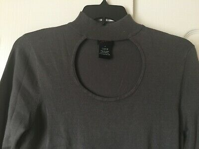 61843255eb4 Torrid Women s SS Dark Gray Top with collar neck and circle cut out front  Size