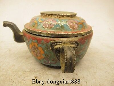 "5"" Chinese bronze Cloisonne beast head statue Rice Wine Tea Pot Flagon"