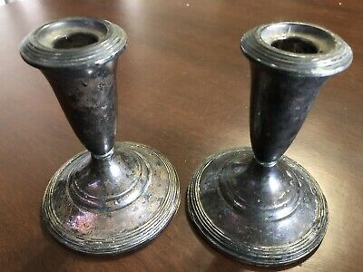 Vintage Pair Of Fisher Sterling Weighted #819 Silver Candlesticks
