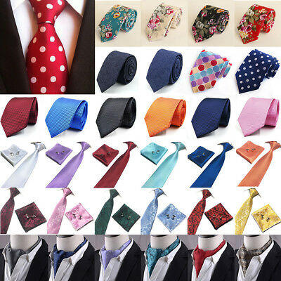 Plain Solid Wedding Classic Slim Skinny Mens Boys Tie & Hanky Set Free Bow