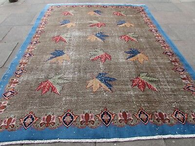 Shabby Chic Old Hand Made Traditional Vintage Blue Wool Large Carpet 316x240cm